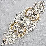 Kristalle und Strass Eisen-auf Applique mit Perlen für Hochzeit Braut Gürtel Kopfstücke Strumpfbänder (Gold und Splitter)