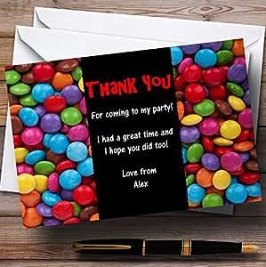 Bonbons Smarties Rouge personnalisé enfants de Parti Cartes de remerciement 60 Invitations