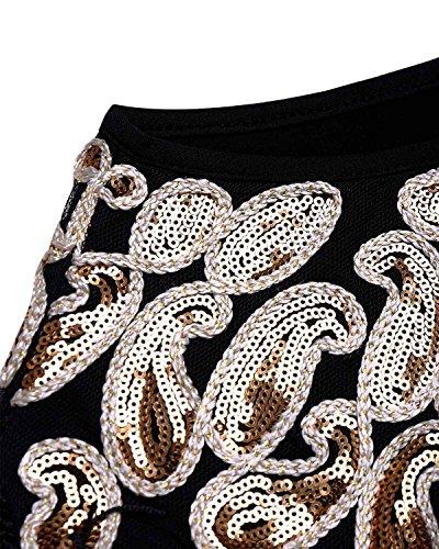 BIUBIU Damen Vintage Flapper Paillettenkleid Cocktail Ballkleid Partykleid Schwarz Gold XXL - 3