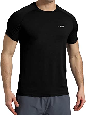 VAYAGER Mens Quick Drying Running Shirts Loose Fit Performance Short Sleeve Lightweight Athletic Workout Shirts for Men