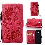 Alfort Cover Samsung J5 2017, 2 in 1 Custodia Flip Stand Case per Samsung Galaxy J530 Funzioni Supporto e Portafoglio Chiusura Magnetica (Rosa Rossa) Goffrata Farfalle e Fiori
