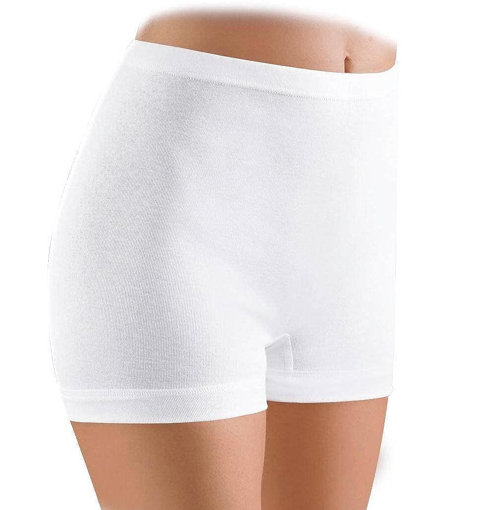 Baumwolle SCHÖLLER 5er Pack Slip mit Bein 38-52 weiß Normalbein Schlüpfer