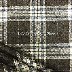Escocés rayas Tartan como patrón diseño marrón color calidad chenilla tapicería tela Ideal para cojines sofás cortinas muebles hogar