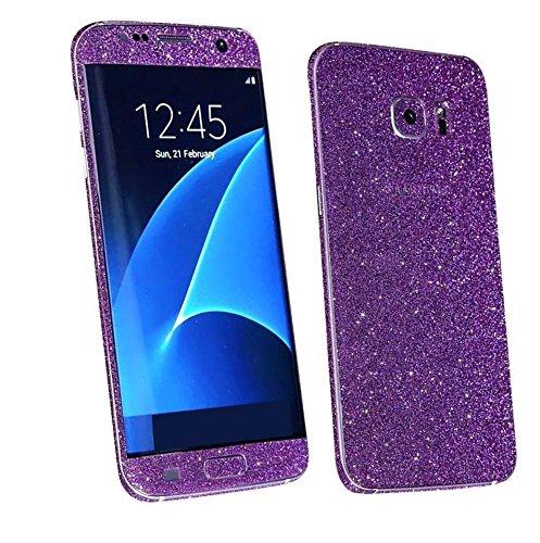 Skins4u® Glitzerfolie Skin Set im Diamond Look Bling Glamour Design Samsung Galaxy S7 EDGE Schutzfolie VIOLETT Vorder & Rückseite Premium Sticker Glitter (Bling Deckt Samsung 5)