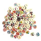 meizu88 100Pcs Mixed Round Wood 2 Holes Buttons DIY Sewing Button ( Random2)