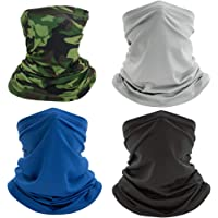HUIMALL 4 PCS Face Covering Scarf, Neck Gaiter Headband Mens Snoods Breathable Head Scarf Face Covering Tube Snoods…