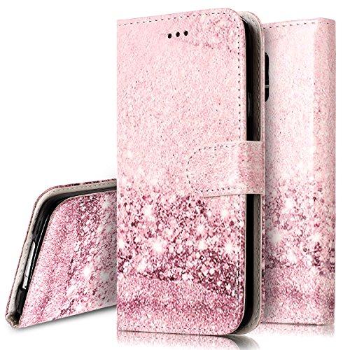 Ukayfe Custodia Cover per Galaxy S5, Flip Portafoglio Cover Copertura Custodia con Super Sottile TPU Interno Case e Porta Carte di Credito in PU Pelle Custodia per Samsung Galaxy S5-Oro Rosa