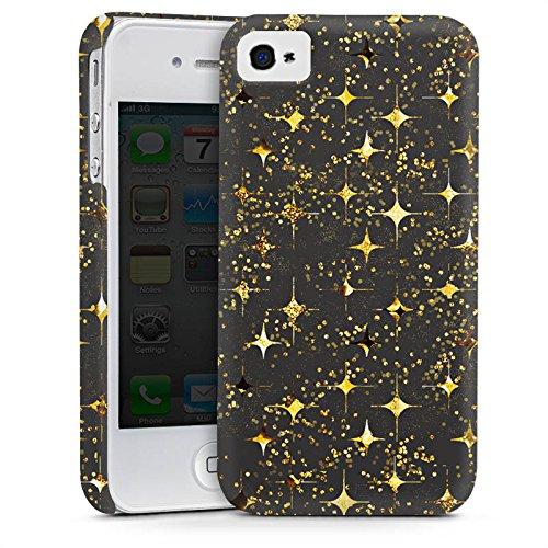 Apple iPhone 4 Housse Étui Silicone Coque Protection Or Paillettes Étoiles Cas Premium mat