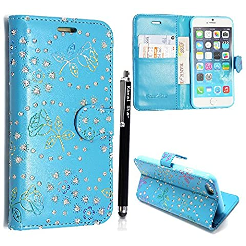 Kamal Star® For Various Apple Phones Premium PU Leather Stand View Wallet Magnetic Flip Case Cover + Stylus (iPhone 4 4S, Rose Sky Blue Diamond