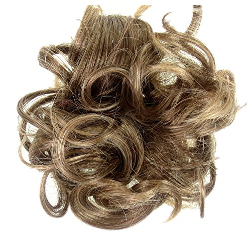 Tutti i colori disponibili! elastico per capelli rivestito con extension a ciocche ricce per creare chignon alto o basso riflessi castani su biondo miele