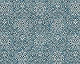 Barock Tapete EDEM 6001-95 Vliestapete geprägt mit Ornamenten glitzernd türkis silber petrol 10,65 m2