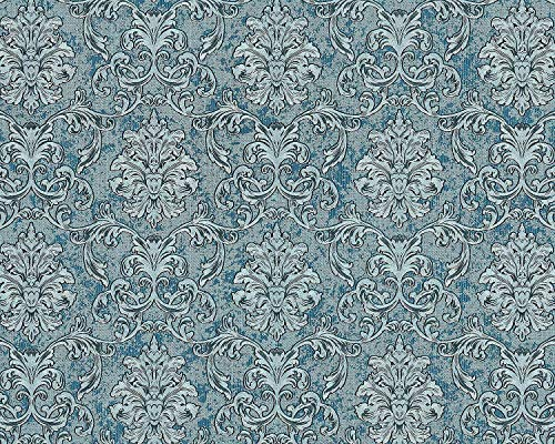 Barock Tapete EDEM 6001-95 Vliestapete geprägt mit Ornamenten glitzernd türkis silber petrol 10,65...