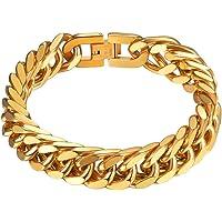 PROSTEEL Herren Armband Edelstahl/18k vergoldet/Schwarz Panzerkette Armband für Männer Jungen schwer Glieder Link…