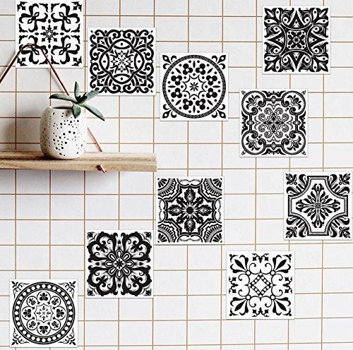 Extsud adesivi per piastrelle wall stickers da mattonelle parete in pvc impermeabile autoadesivo decorazione per cucina bagno fai da te (antico bianco nero 20x20cm)