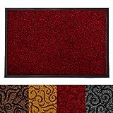 Design Schmutzfangmatte | mit Schnörkelmuster | für Eingangsbereich | Fußmatte in vielen Größen und Farben | rot 90x150 cm