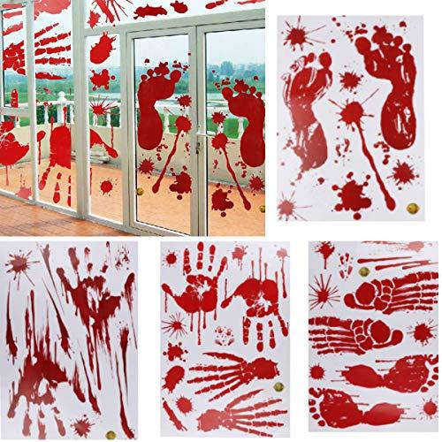 Yoodelife 100 Stück Halloween Spukhaus, Dekoration für Fenster, blöde Handabdrücke, Fußabdruck, Vampir, Zombie-Party, Aufkleber, 10 Blatt