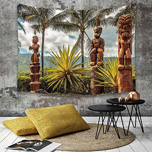 Tapestry, Wall Hanging, Palmen Tropical Island Ocean Hawaii Tiki Maske Wand Kunst Bilder Fine Art, brauner Senf,wall hanging wall decor, Bed Sheet, Comforter Picnic Beach Sheet home décor 130 x 150 cm - Fine Art Tapestry Wall Hanging