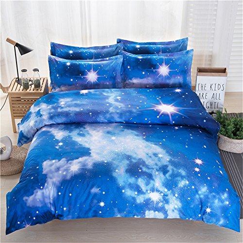RFVBNM 3D Galaxy housse de couette Set Twin/Queen 4pcs literie ensembles de mode personnalité style univers espace extérieur à thème linge de lit à la maison décoration, Twin 4pcs