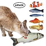 Aolvo 6Packungen 200mm/19,8cm Cat Toys Katzenminze Flauschig Fisch Kitty Interaktives Chewings Creative Katze Kissen, 2018Best Spielzeug für Katzen einschl 6Arten von Fisch