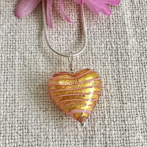 Diana Ingram Sterling Silver snake chain with pink spiral on gold foil Murano glass medium heart pendant (18mm).