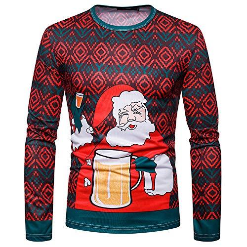 SEWORLD Weihnachten Christmas Herren Abend Party Männer Weihnachtskostüm Sankt Drucken Urlaub Humor Langarm T-Shirt Xmas ()