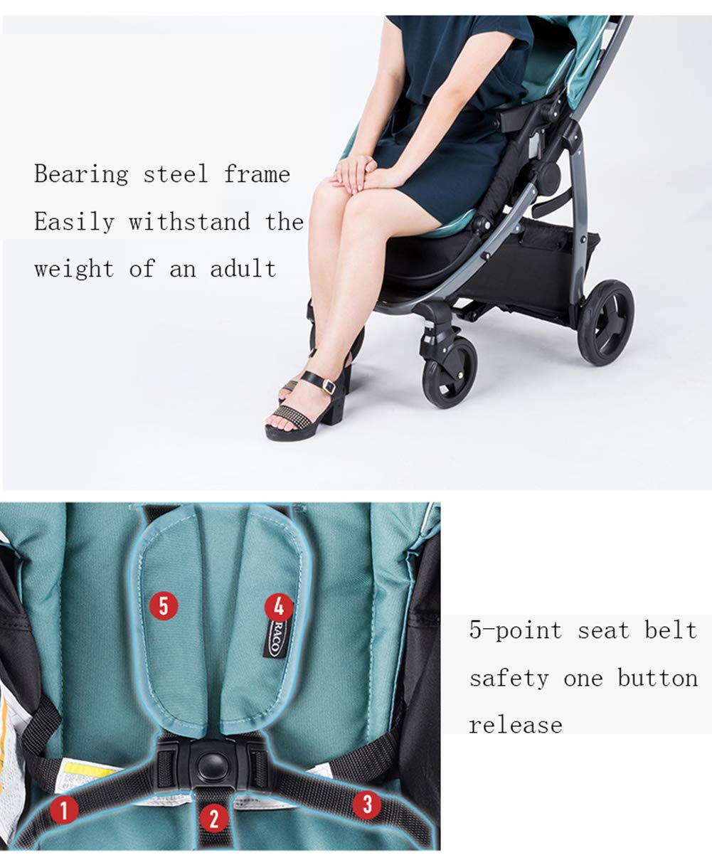 XUE Baby Stroller, Spacious High Landscape Trolley Shock Absorber Can Sit Reclining With Basket Travel System With Embrace XUE ∵ Wipeable and washable design for easier cleaning. ∵ Convertible high chair becomes booster and toddler seat. ∵ Keeps little ones secure with 3-point and 5-point harnesses. 4
