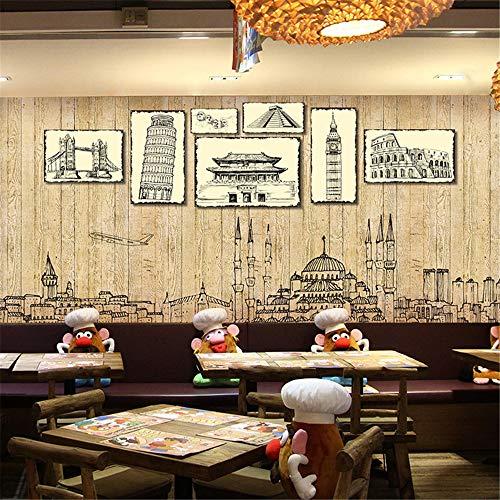 GBHL HD Tapete TV 3D Stereo Plank Vintage britische Architektur Wandbild Persönlichkeit nahtlose westlichen Restaurant Cafe Hintergrund Wand, 300X210 CM (118.1 By 82.7 In) - Britische Vintage-print