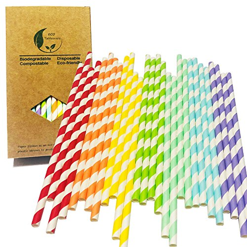 White and Red/Orange/Yellow/Green/Blueness/Blue/Purple Stripes Mix Colours 7 Rainbow Cocktail Party Paper Drinking Straw, Decorated Party Goods and Party Accessories Drinking Paper Straws