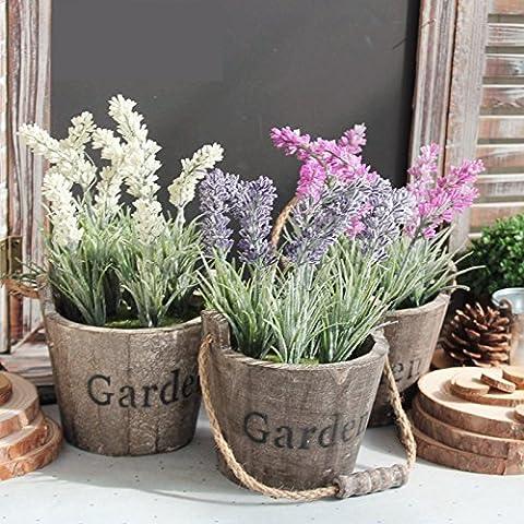 Life Up® Florero de madera + artificial flores de lavanda, Barril de la vendimia Diseño Florero planta plantador, Decoración Iniciar / interior / exterior / de la boda /