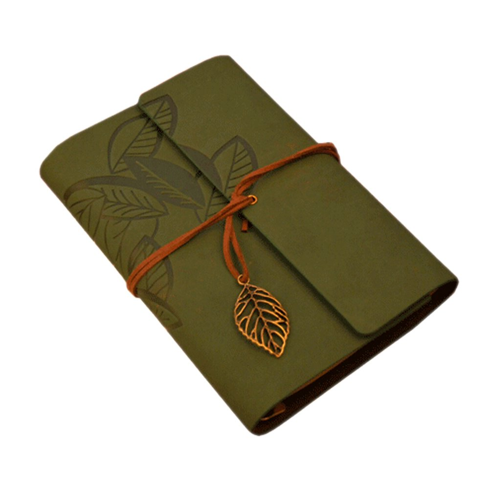 Boshiho® vintage PU leather cover Loose Leaf Blank notebook Journal Diary Gift Green