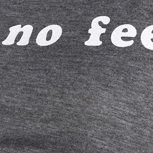 Amuster Femmes sans manches Lettre Halter Neck Tank Crop Court Gilet Blouse T-shirt Gris