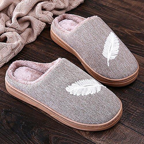 Icegrey Pantofole da Uomo Donne Moda Acquista Lavorato A Maglia Confortevole Peluche Pile Allineate su Slip Sale di Casa Pantofole Caffè