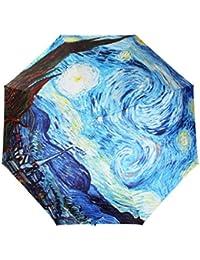 Go Further Estrellada de Van Gogh elargol protector solar de tres paraguas plegable