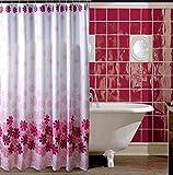 ZBB Badezimmer geblümten Vorhängen Verdicken [Wasserdicht] Bad Duschvorhänge Duschvorhänge Farbe Rosa Blume der Fischerei der Duschvorhang-I 180 X 190 cm (71 X 75 cm)