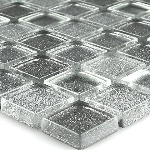 Mosaik Glas Mosaikfliese Silber Mix Glitzer 23x23x8mm