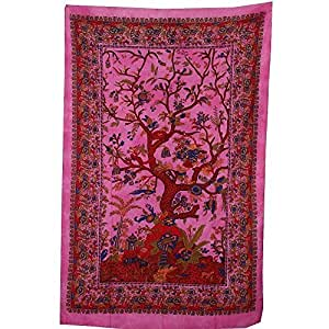 PLAIN TREE OF LIFE WALL ART SINGLE BED SOFA THROW BEDDING COVER boho yoga tap...