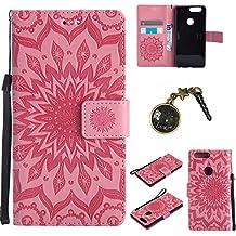 PU Cuir Coque Strass Case Etui Coque étui de portefeuille protection Coque Case Cas Cuir Swag Pour Huawei Mate 8 (Ecran : 6 pouces ) +Bouchons de poussière (1FF)