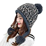 ParaCity Women Knitted Hat - Bobble Hat Style with Ear Flaps for Protection from Wind & Cold - Can Be Worn Loose or Tied Together (Black)
