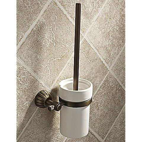 haisi accessori da bagno/Portasciugamani/Racks/ganci/dentifricio/spazzola/fine sapone dispenser per box semplice Round Stile Antique Brass–Porta spazzolone WC