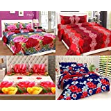 Shop4indians Super Saver Combo Pack Of 4-3D Glace Cotton Double Bed Sheets With 8 Pillow Covers.