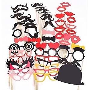 Haibei 50PCS Puntelli colorate su un Favor Stick Baffi Photo Booth Party Fun Natale di Cerimonia Nuziale di Compleanno