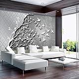FORWALL Fototapete Vlies Tapete Moderne Wanddeko Silber Baum mit Vögeln VEXXXL (416cm. x 254cm.) AMF10231VEXXXL