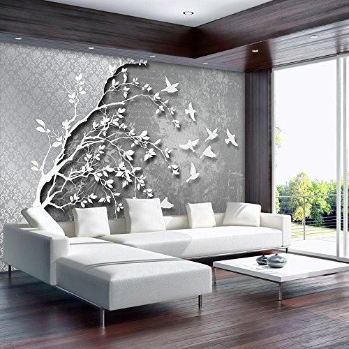 DekoShop Fototapete Vlies Tapete Vliestapete Moderne Wanddeko Wandtapete  Wand Dekoration Silber Baum Mit Vögeln AMD10231VEXXXXL VEXXXXL (416cm. X  290cm.