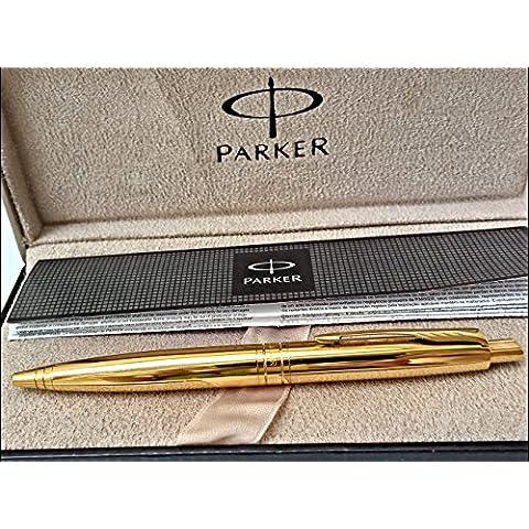 24placcato oro Aster Parker a sfera scrittura penna lucido finitura lucida in metallo con 24K–confezione