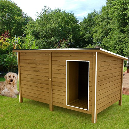 Happypet® Hundehütte DK150-2 wetterfest, isoliert mit Windfang aus Massivholz 150 x 95 x 95 cm - 2