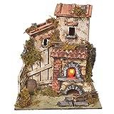 Landhütte für Krippe mit Backhofen und Feuereffekt 25,5x24x21cm
