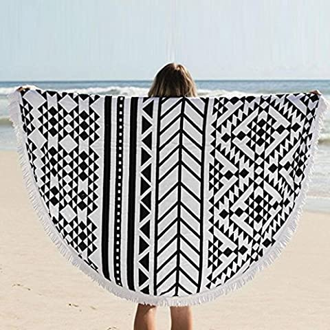 Tonsee 1500mm Round Beach Towel With Tassels,Microfiber Large Reactive Printing