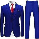 Mens Suits 3 Piece Slim Fit Wedding Tuxedo Suit for Men One Button Formal Suit Blazer Jackets Waistcoat Trousers