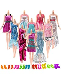 Yomon 20 Piezas Ropa y Zapatos para Muñeca Barbie -10 Piezas Vestido Fashionista Hecha a Mano y 10 Zapatos -para 11.5 Pulgadas / 28 - 30cm (Aleatorio)