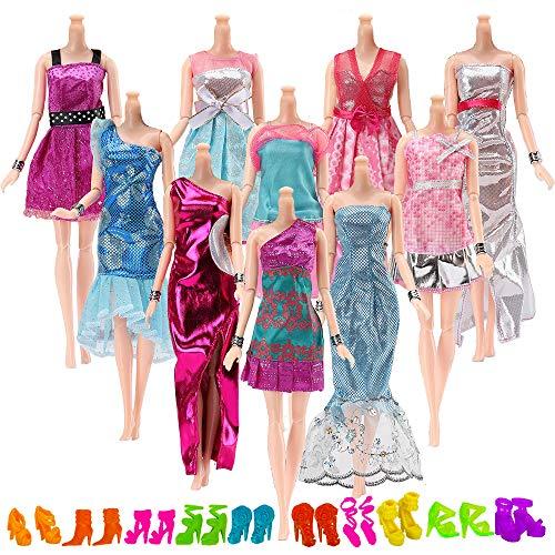Yomon 10 Stück Kleider Kleidung Partymode Prinzessinnen Fashionistas mit 10 Paar Schuhen für Barbie Puppen